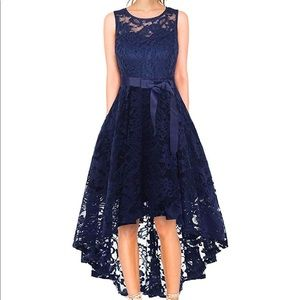 NWT, Navy Lace Cocktail Wedding Dress Size M